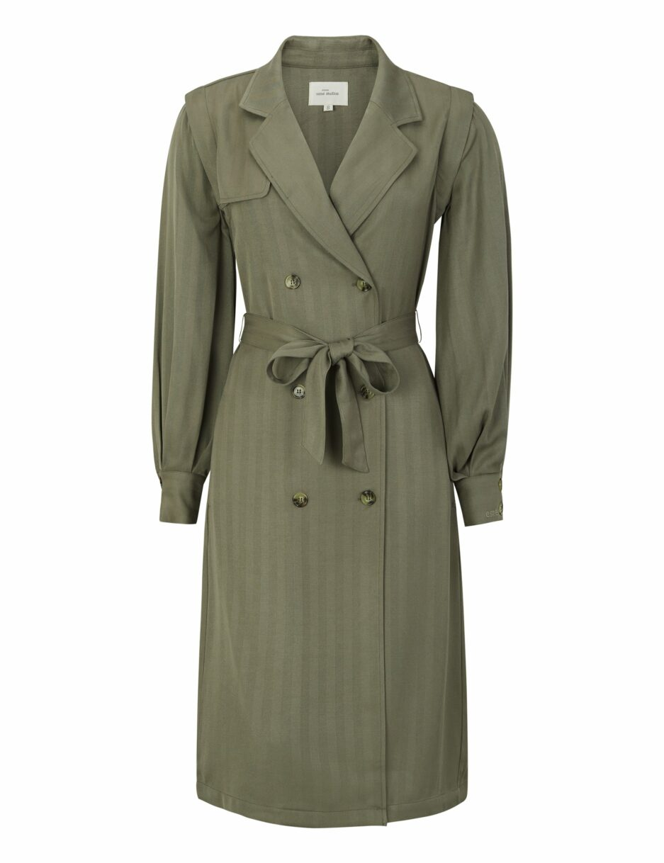 ESMarina LS Midi Trench Coat Dress - Grape Leaf